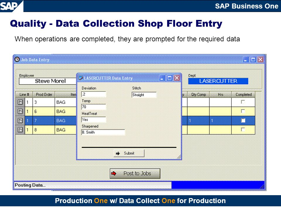 Quality - Data Collection Shop Floor Entry