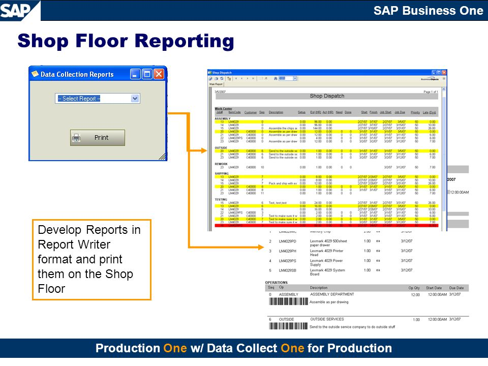 Shop Floor Reporting Develop Reports in Report Writer format and print them on the Shop Floor