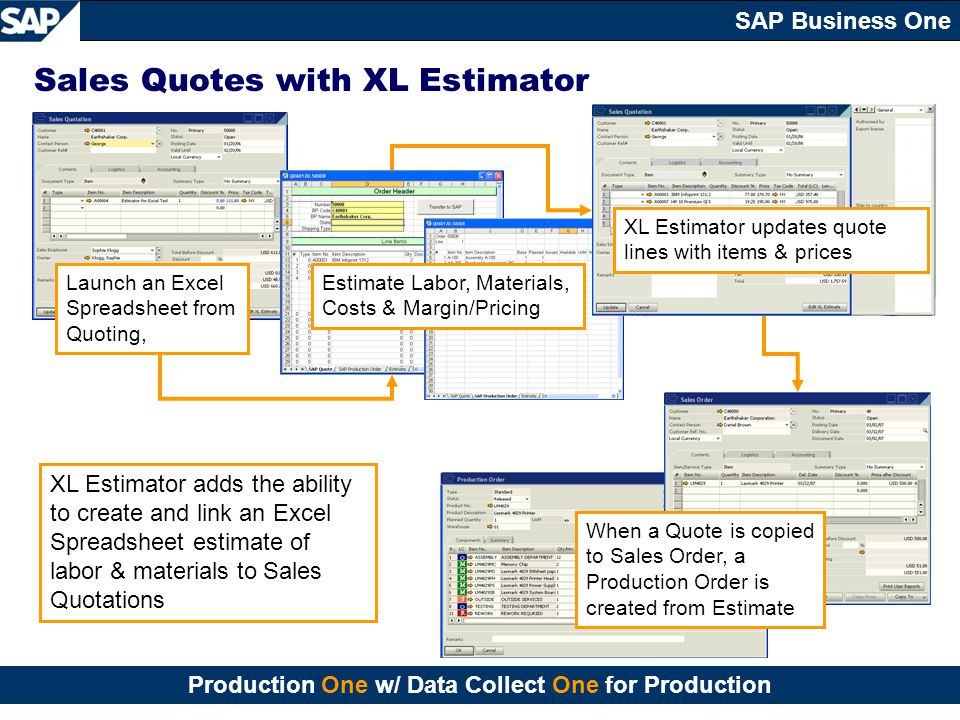 Sales Quotes with XL Estimator