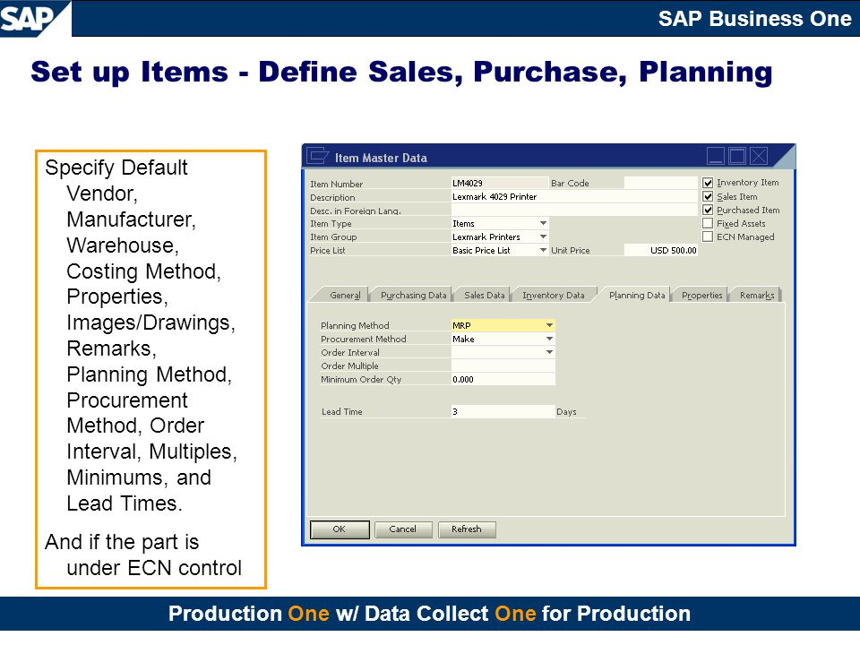 Set up Items - Define Sales, Purchase, Planning