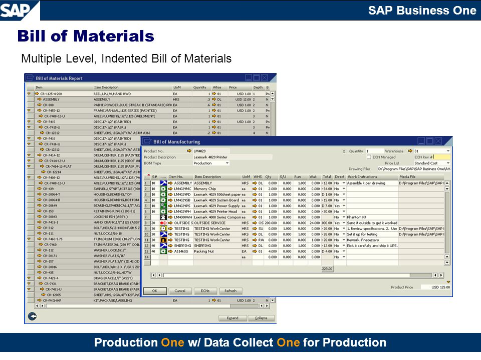 Bill of Materials Multiple Level, Indented Bill of Materials