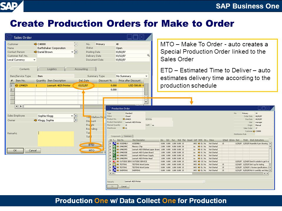 Create Production Orders for Make to Order