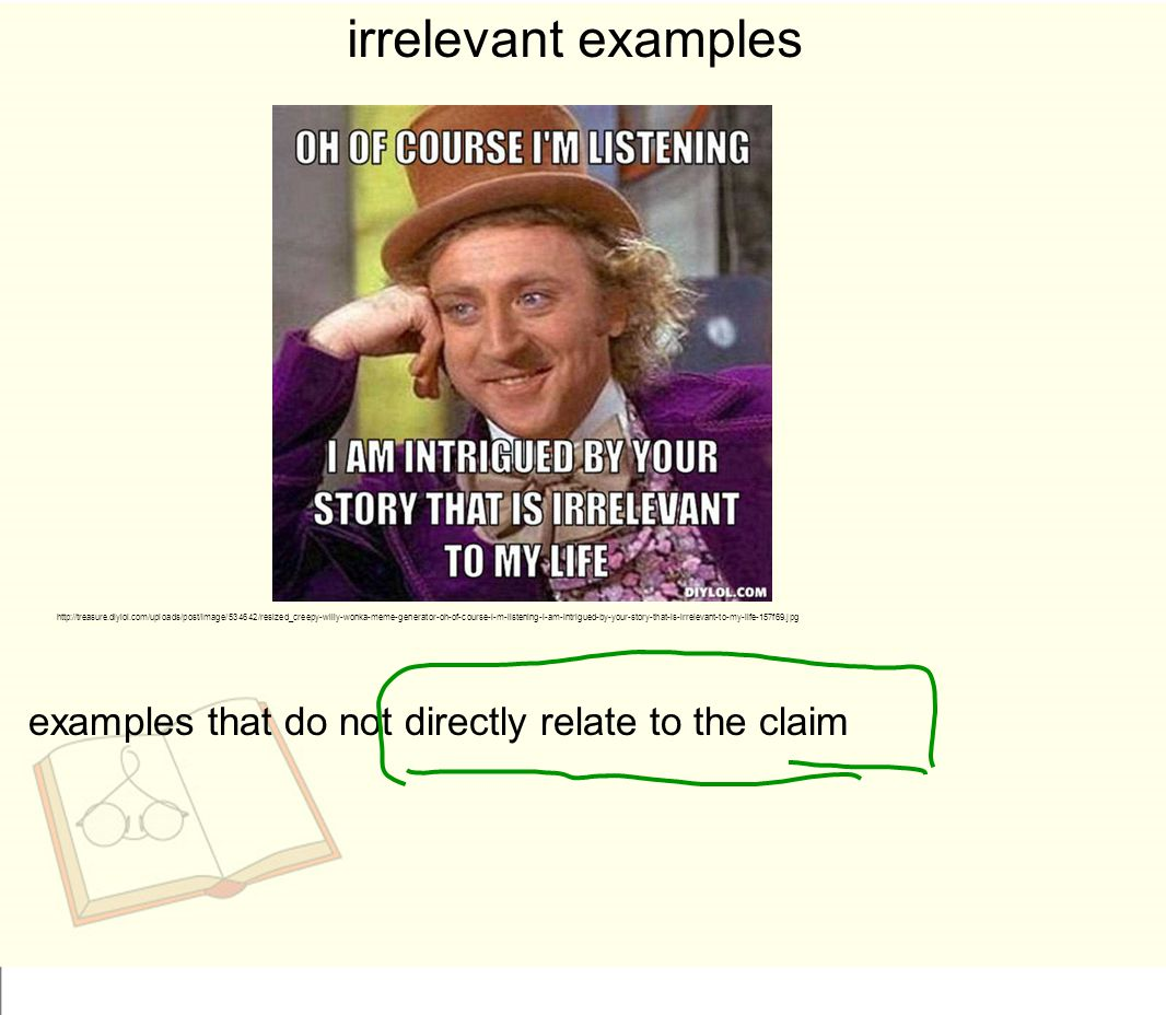 irrelevant examples examples that do not directly relate to the claim