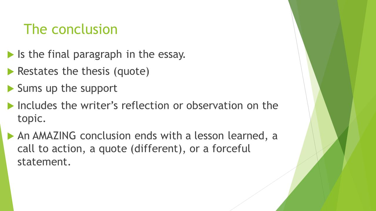 The conclusion Is the final paragraph in the essay.