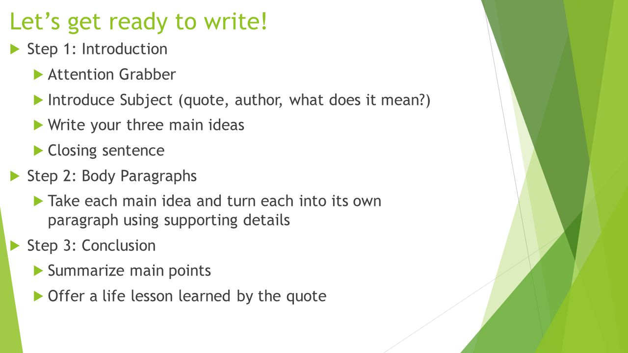 Let's get ready to write!