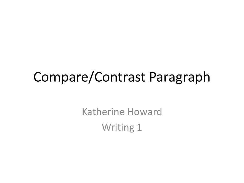 compare and contrast paragraph pdf