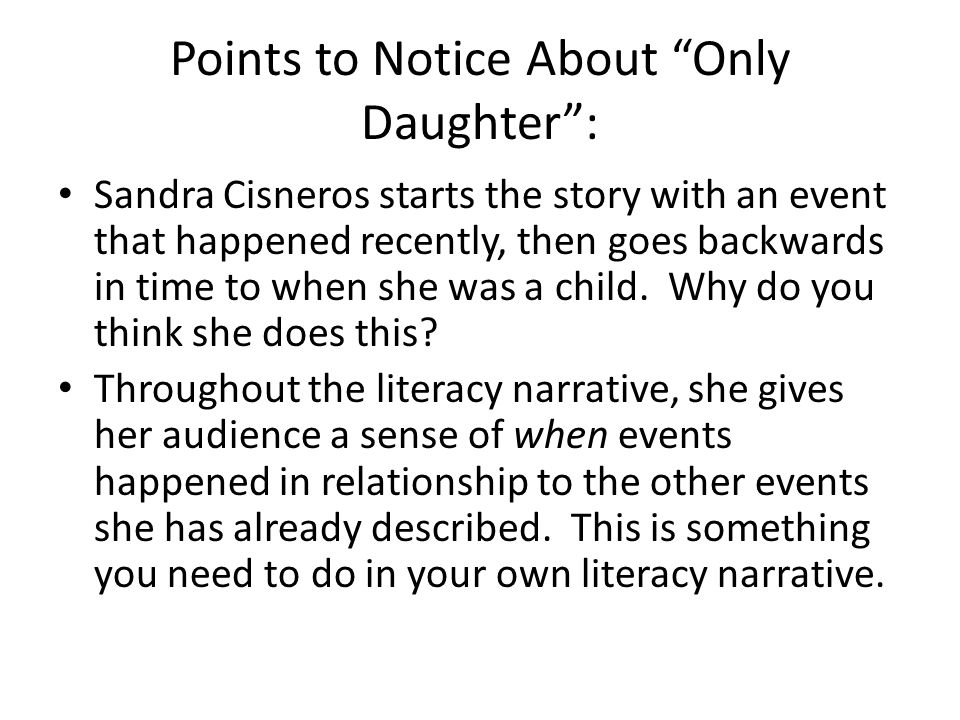 only daughter by sandra cisneros purpose