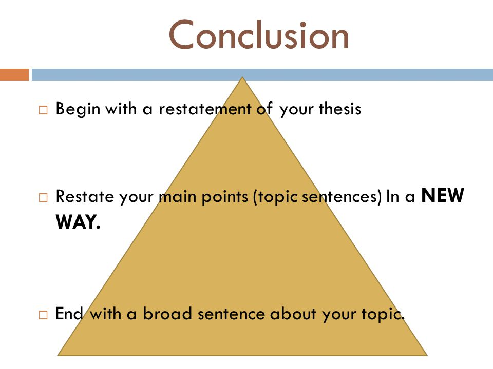 Conclusion Begin with a restatement of your thesis