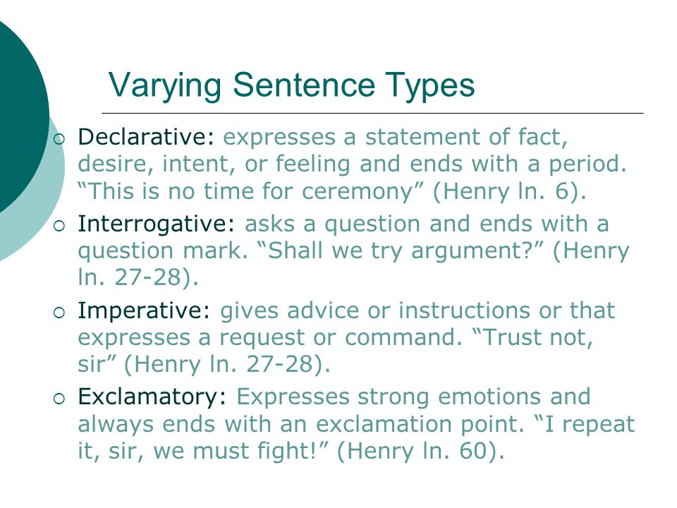 Varying Sentence Types