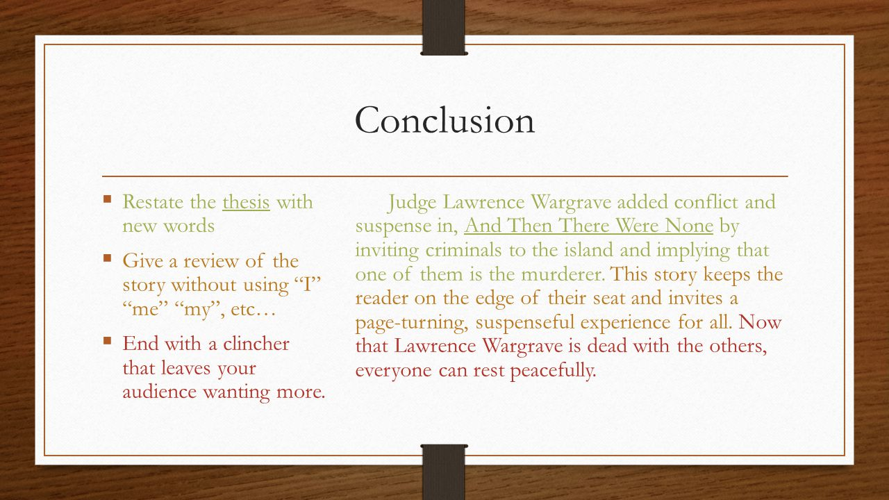 And Then There Were None Literary Analysis  Ppt Video Online Download  Conclusion