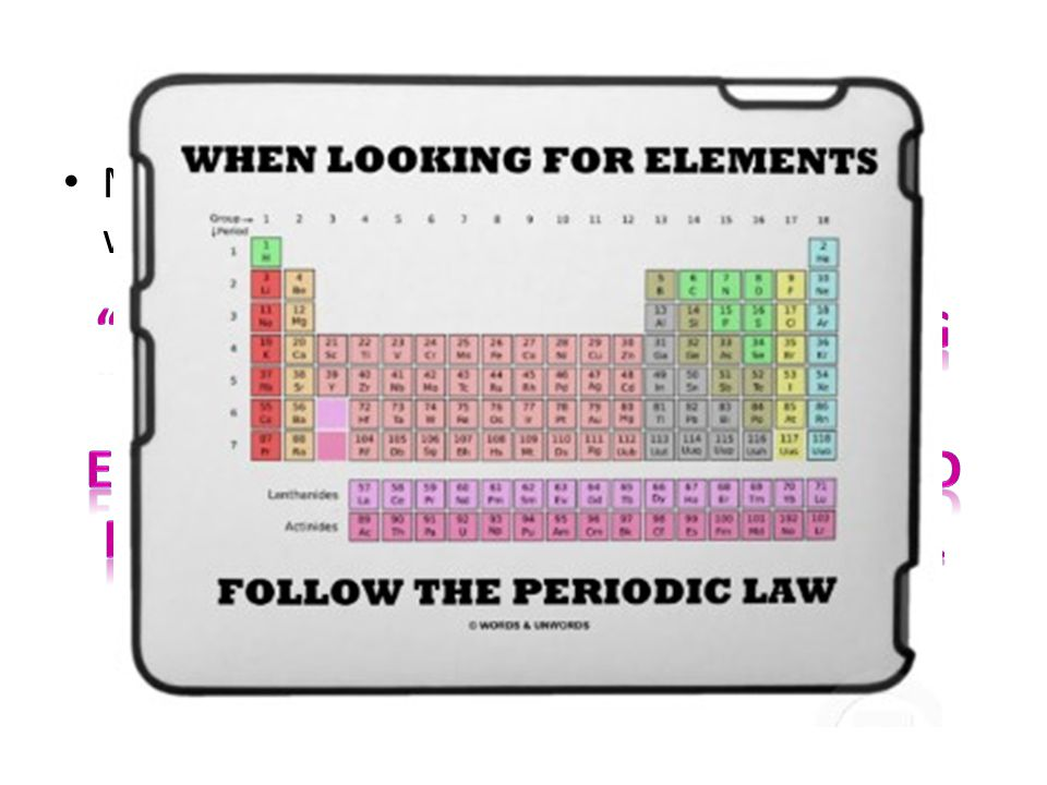 Periodic Law Mendeleev understood the 'Periodic Law' which states: