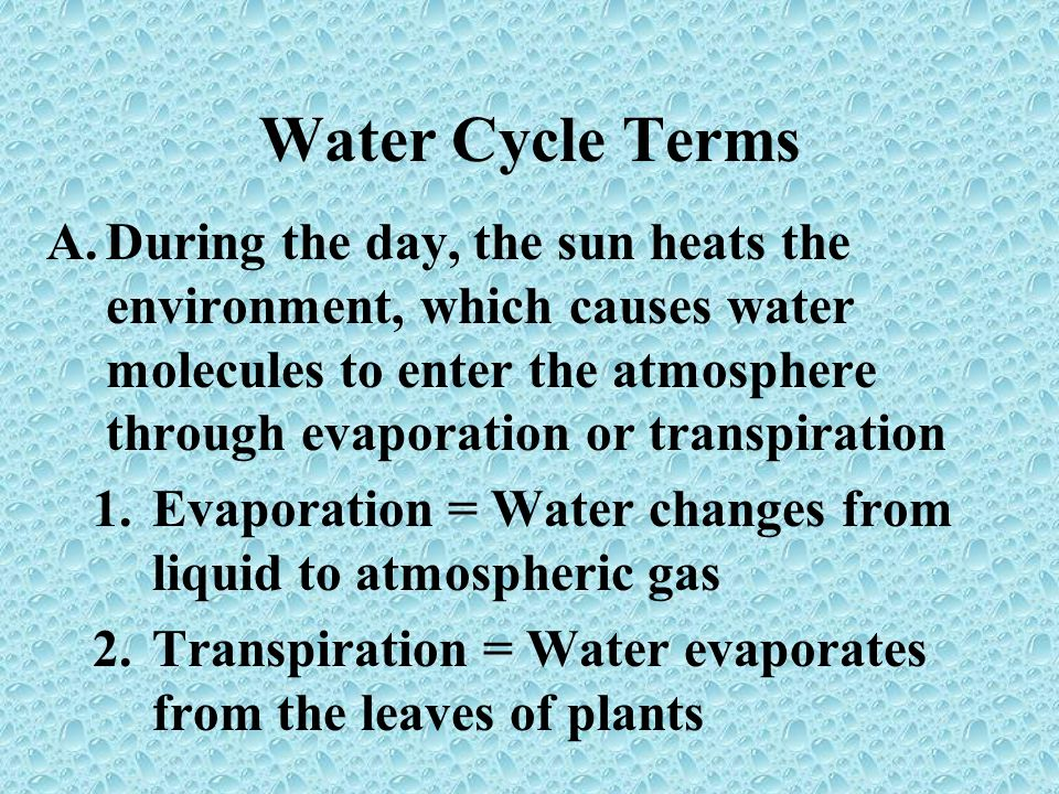 Water Cycle Terms