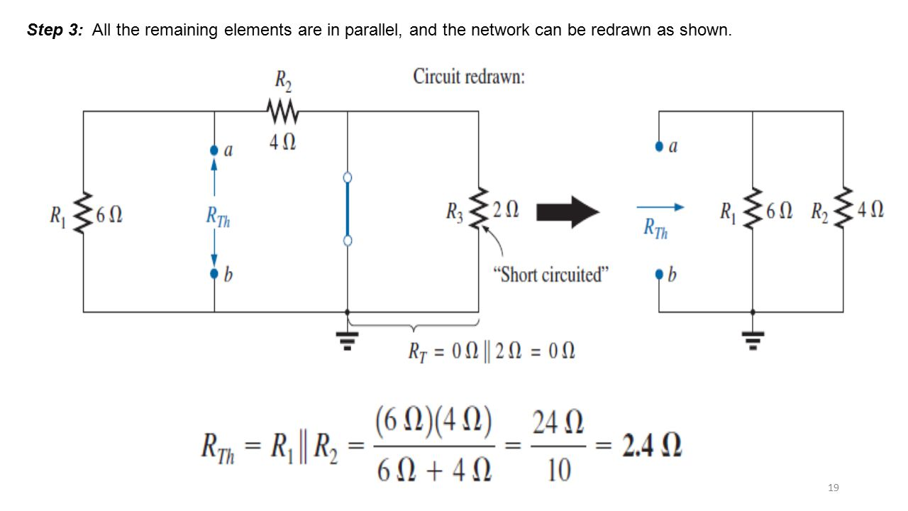 Step 3: All the remaining elements are in parallel, and the network can be redrawn as shown.