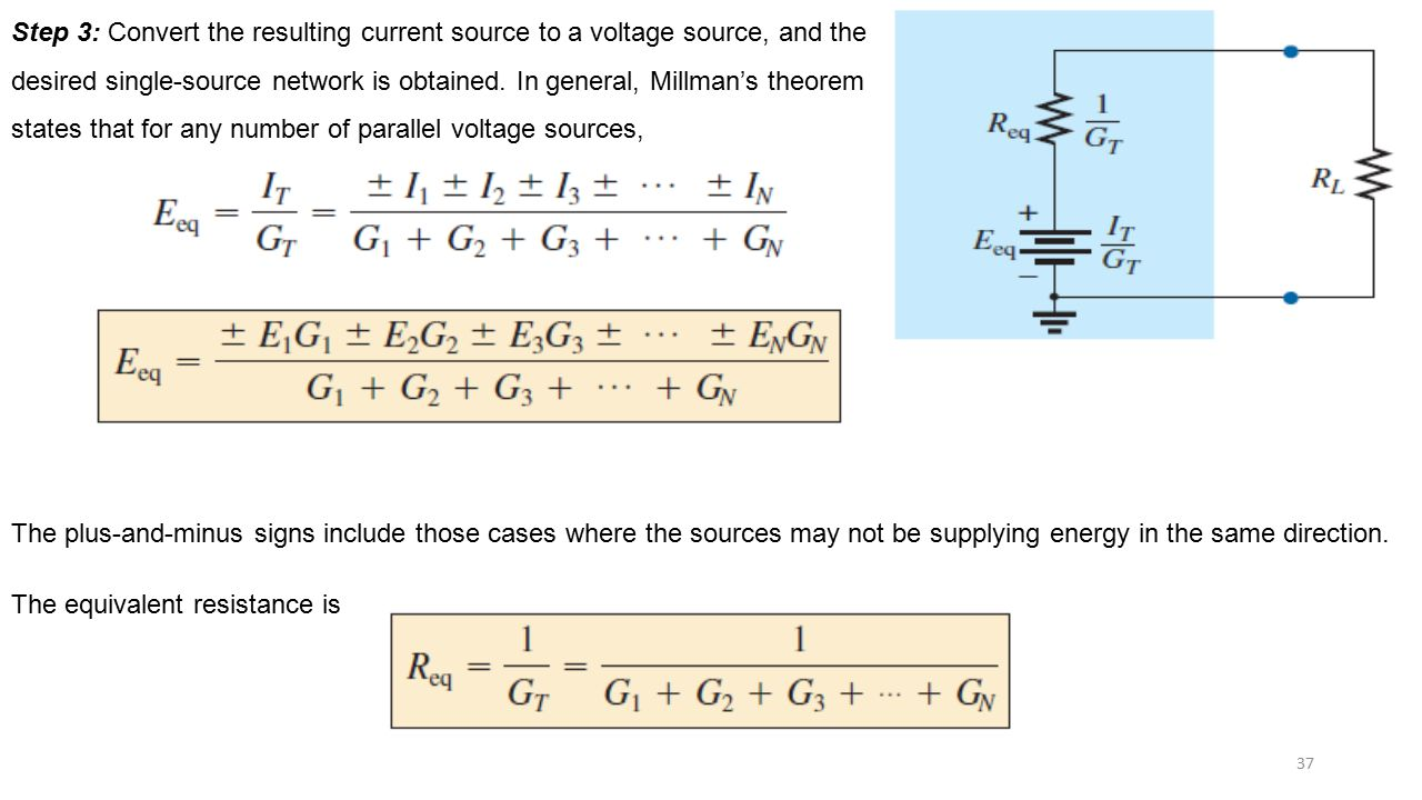 Step 3: Convert the resulting current source to a voltage source, and the