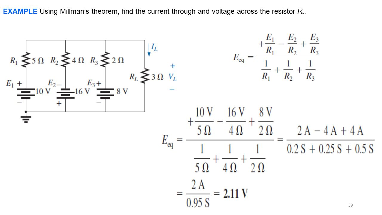EXAMPLE Using Millman's theorem, find the current through and voltage across the resistor RL.