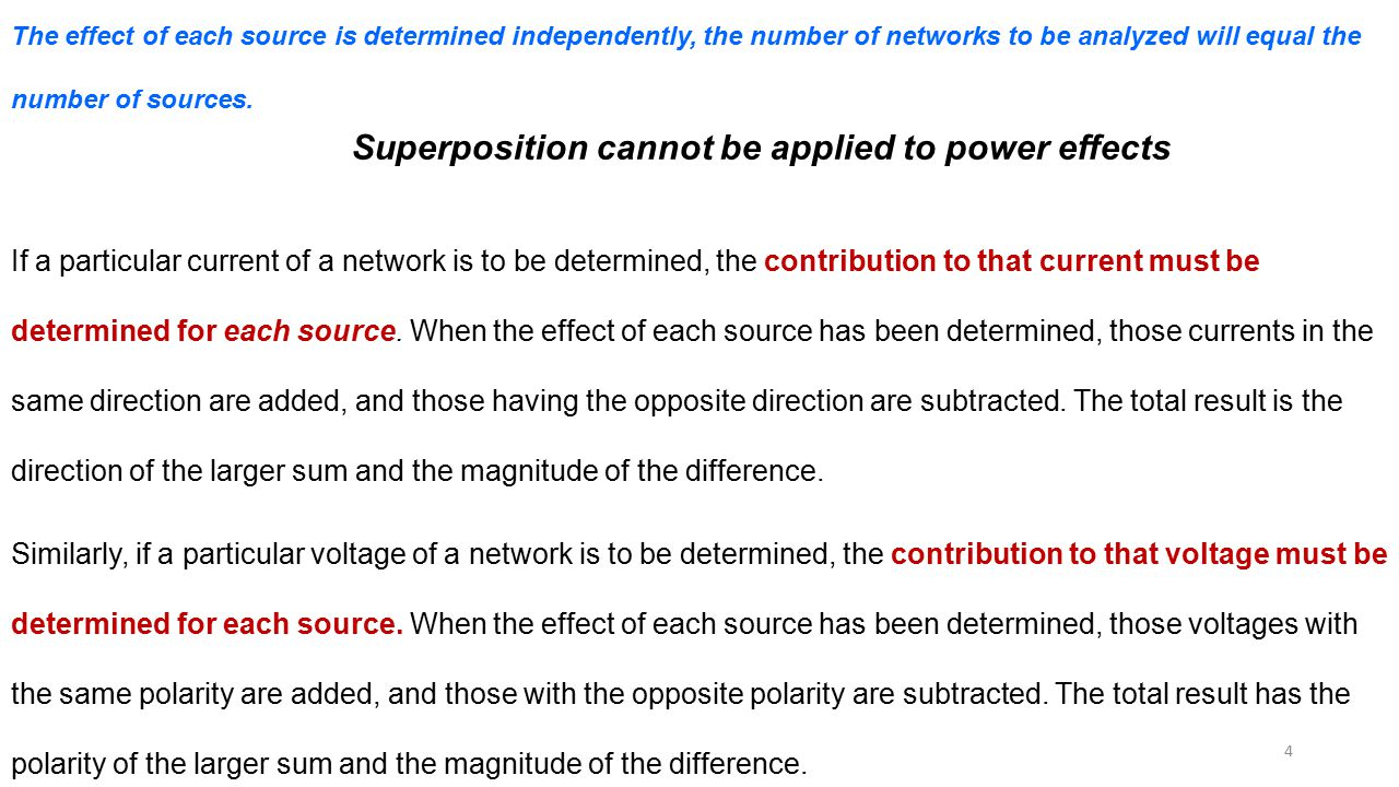 Superposition cannot be applied to power effects