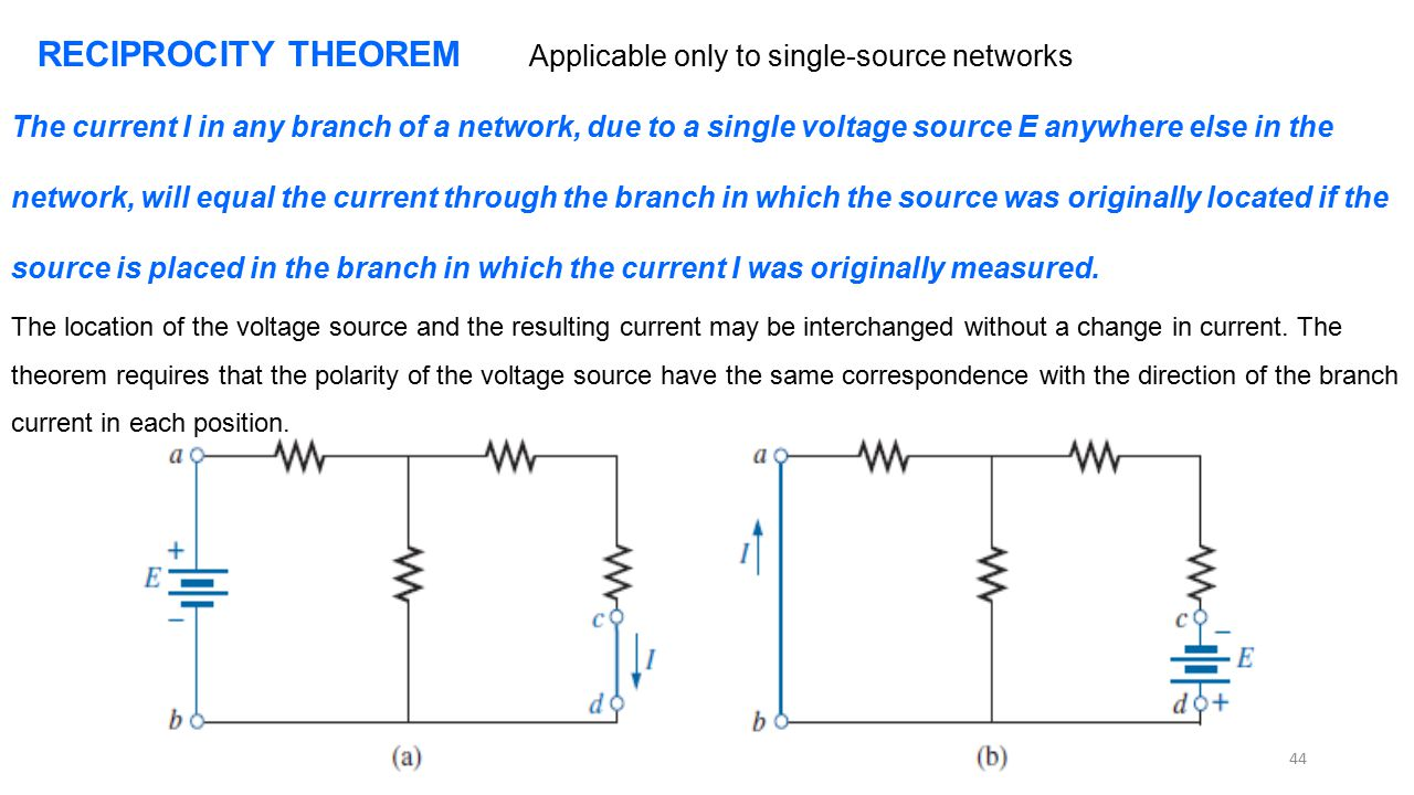 RECIPROCITY THEOREM Applicable only to single-source networks