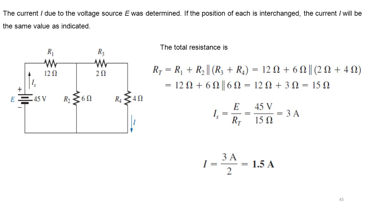 The current I due to the voltage source E was determined