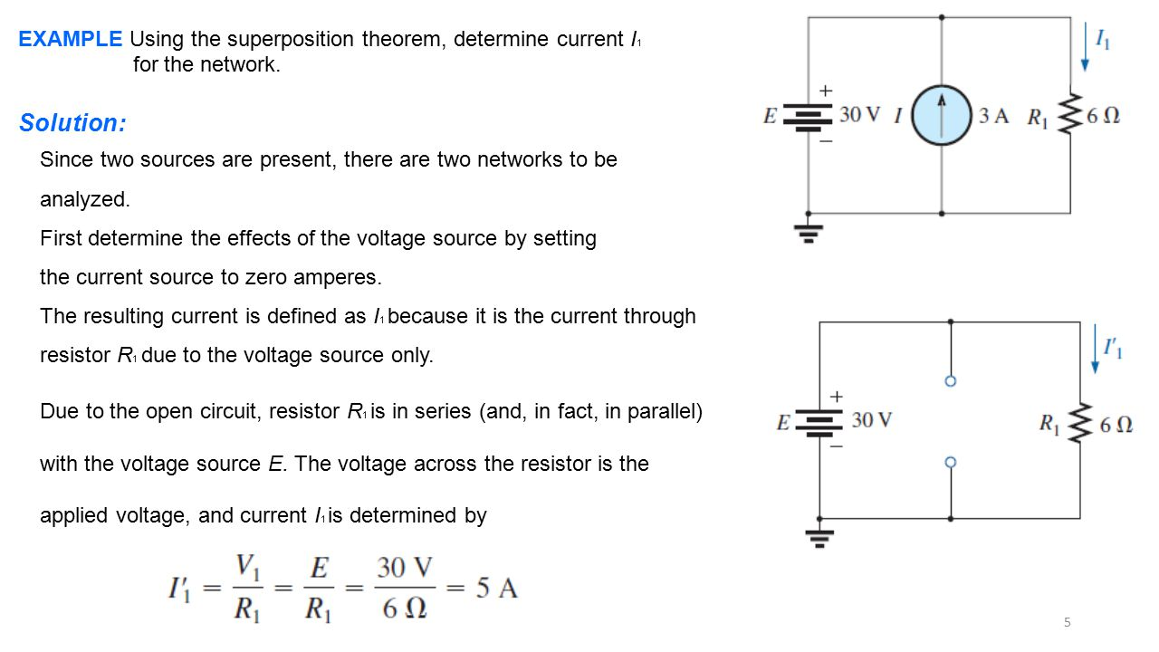 EXAMPLE Using the superposition theorem, determine current I1