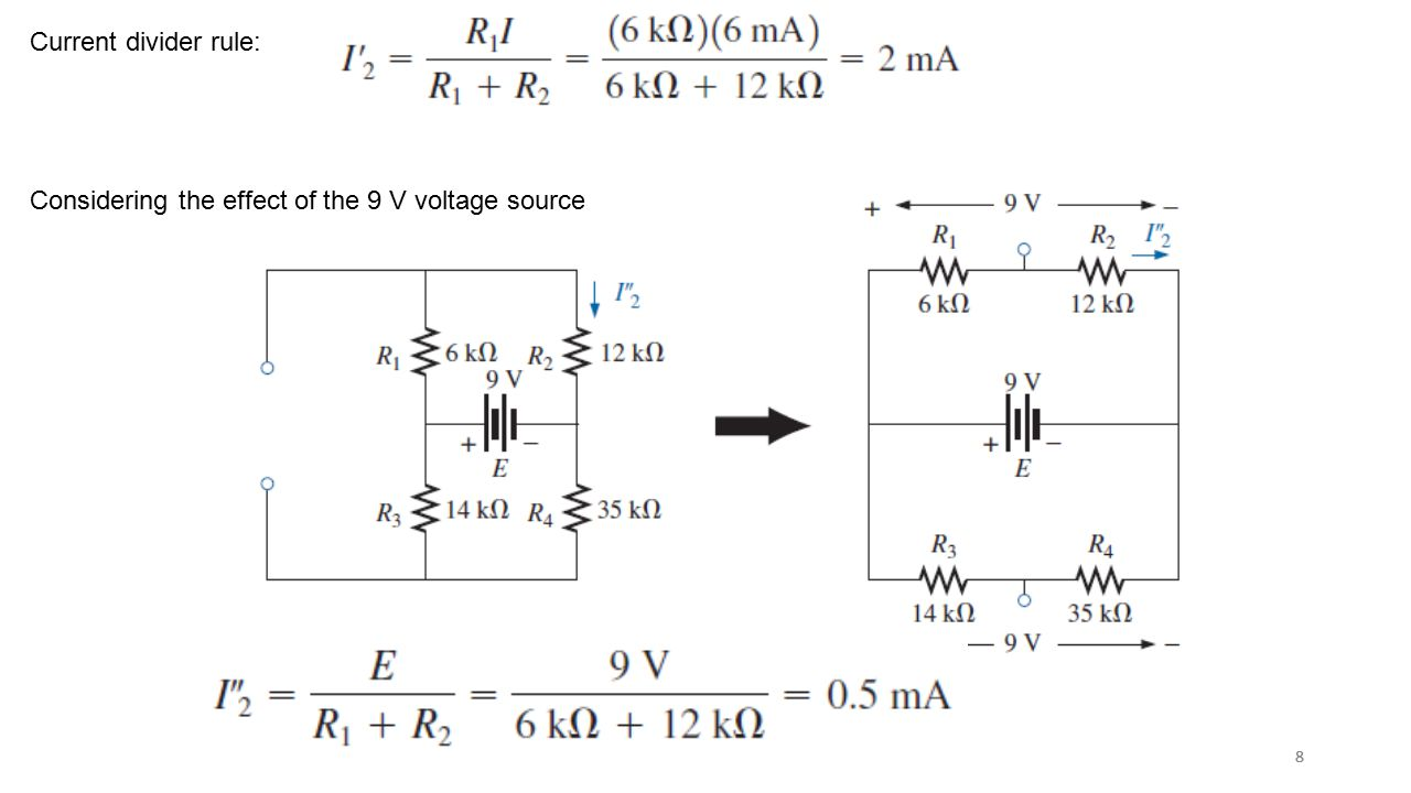 Considering the effect of the 9 V voltage source
