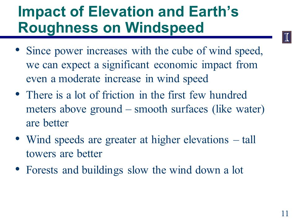 Characterization of Elevation and Earth's Roughness on Wind Speed