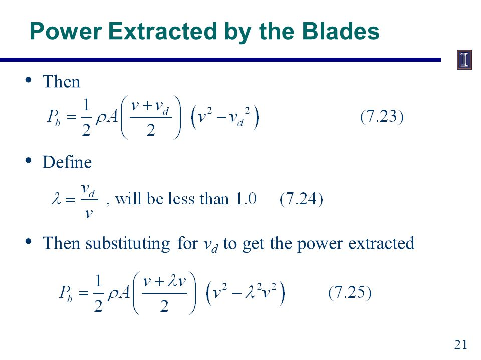 Power Extracted by the Blades
