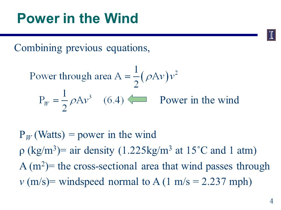 Power in the Wind (for reference solar is about 600 w/m^2 in summer)