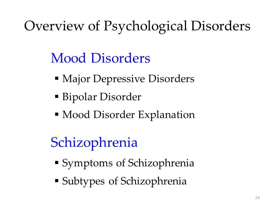 Overview of Psychological Disorders