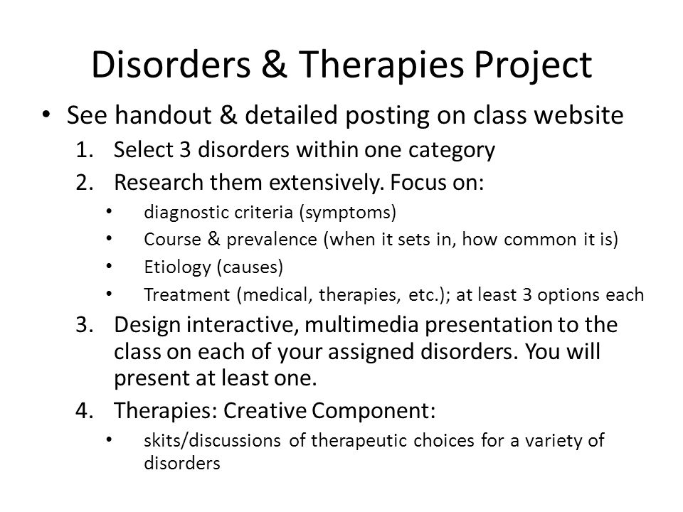Disorders & Therapies Project