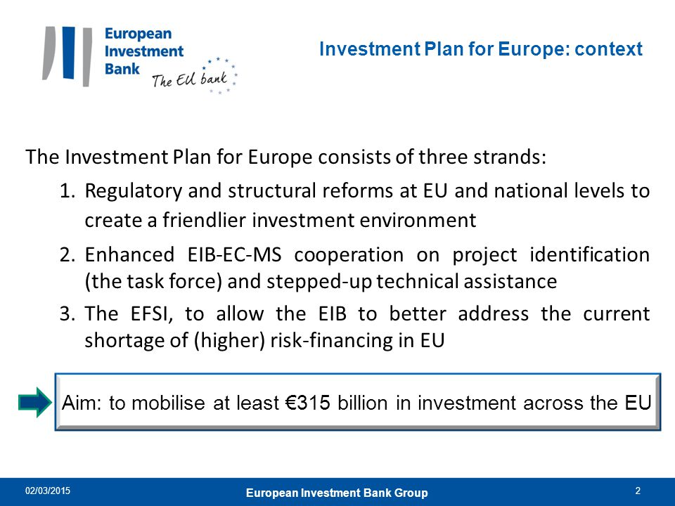 Investment Plan for Europe: context