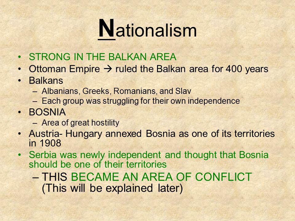 Nationalism STRONG IN THE BALKAN AREA. Ottoman Empire  ruled the Balkan area for 400 years. Balkans.