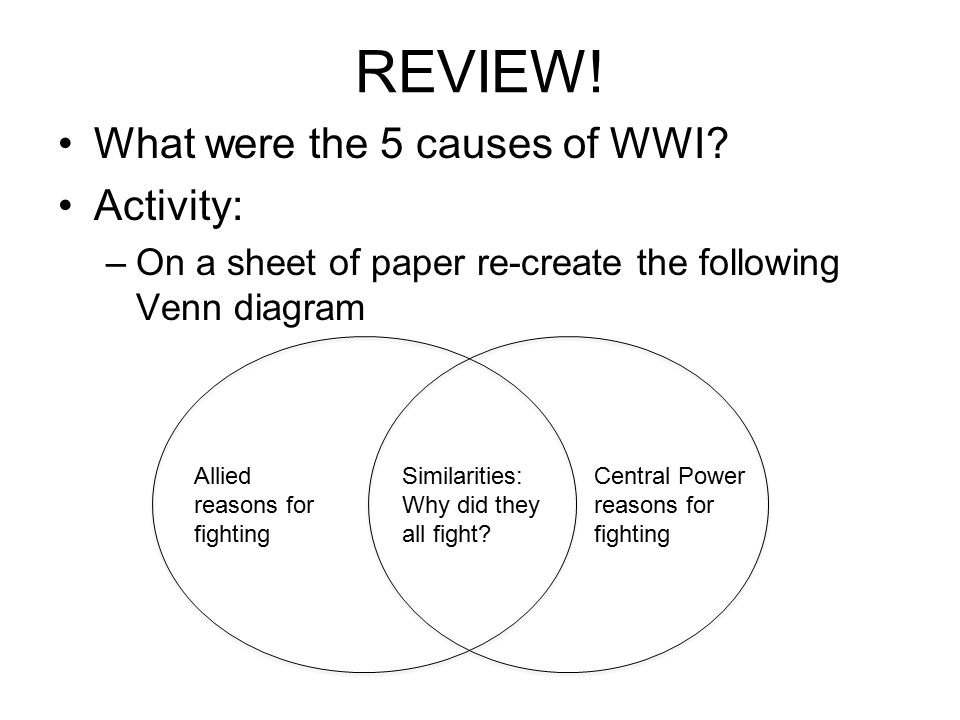 REVIEW! What were the 5 causes of WWI Activity:
