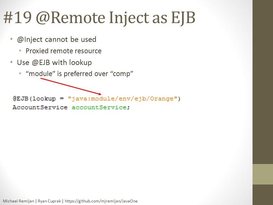 Inject as cannot be used with lookup