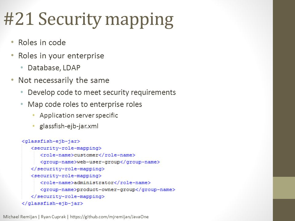 #21 Security mapping Roles in code Roles in your enterprise