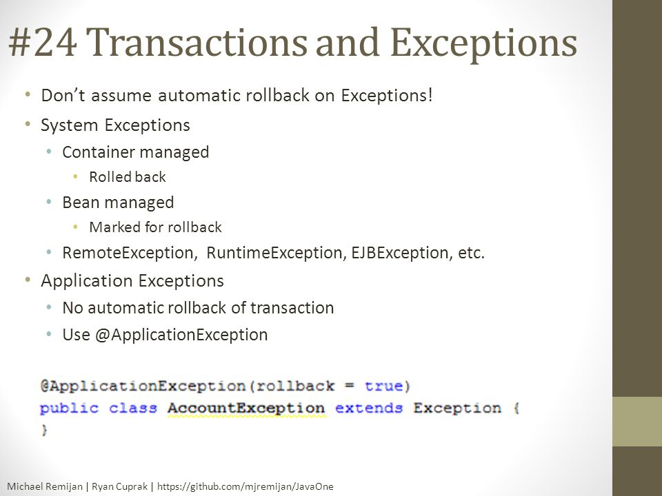 #24 Transactions and Exceptions