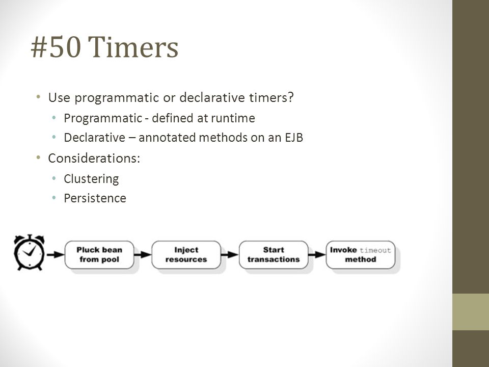 #50 Timers Use programmatic or declarative timers Considerations: