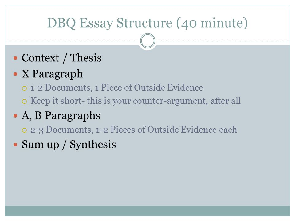 dbq essay 9 18 2012 The dbq will consist of two parts in the first part, students will be required to answer a key question on each document this generally involves interpreting the main idea or point of view expressed in.