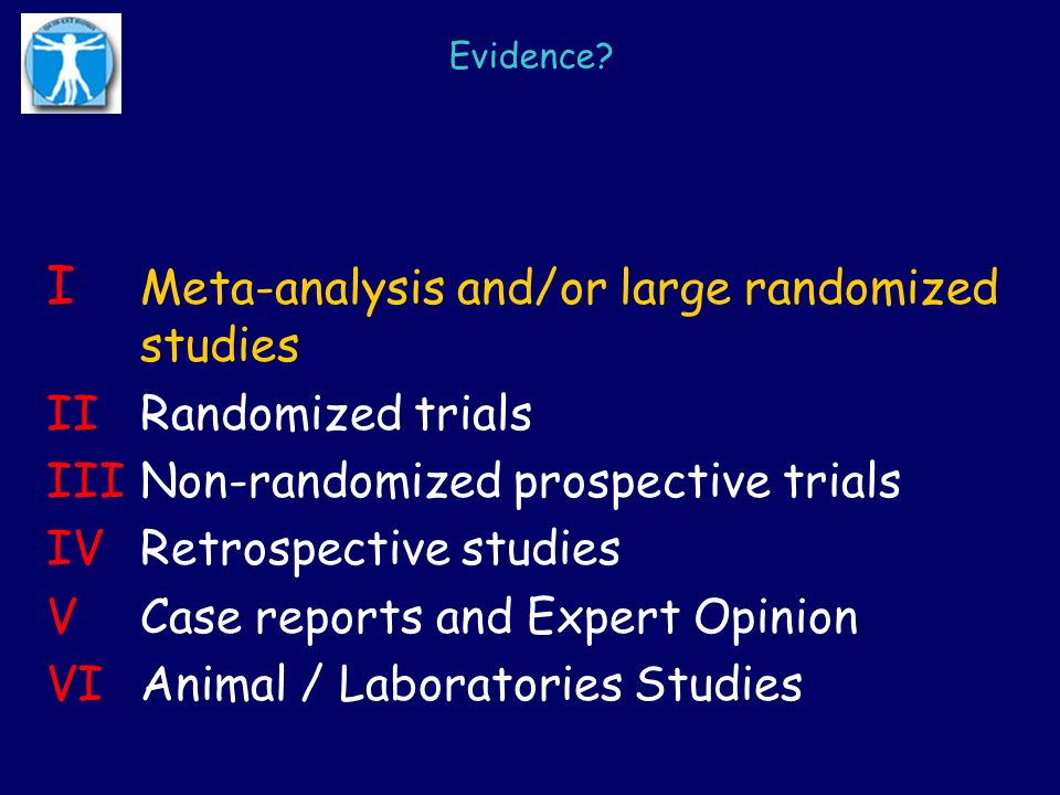 I Meta-analysis and/or large randomized studies