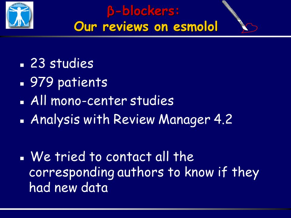β-blockers: Our reviews on esmolol. ▪ 23 studies. ▪ 979 patients. ▪ All mono-center studies. ▪ Analysis with Review Manager 4.2.