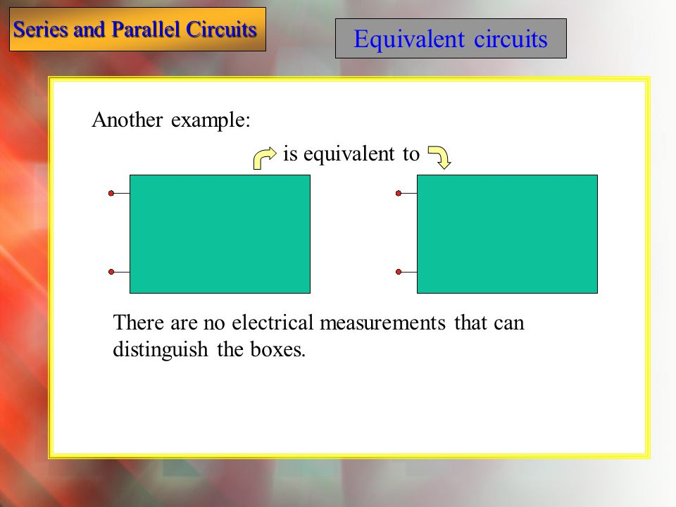 Equivalent circuits Another example: is equivalent to