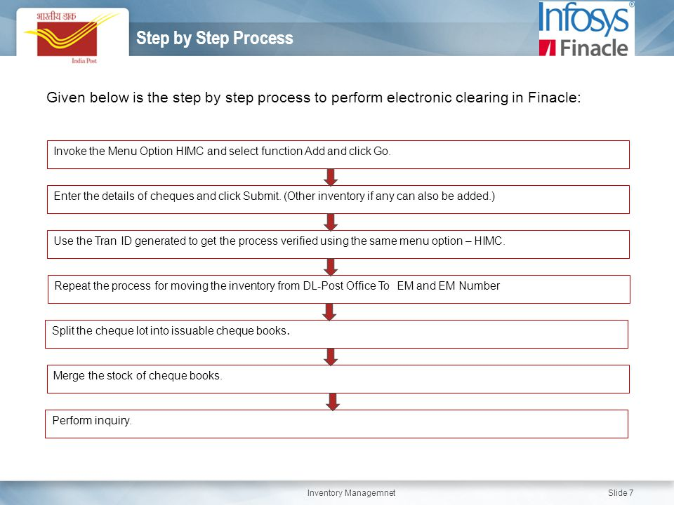 Step by Step Process Given below is the step by step process to perform electronic clearing in Finacle: