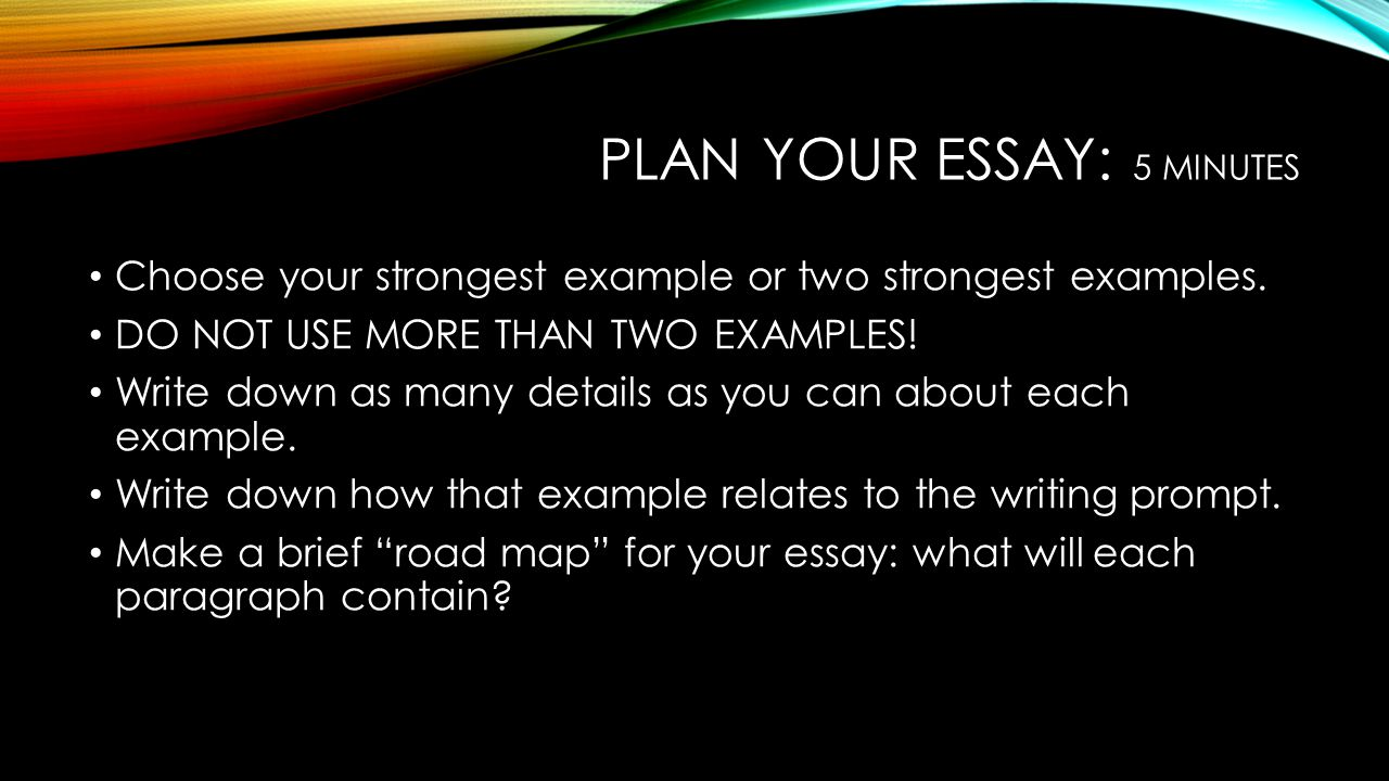 Plan your essay: 5 minutes