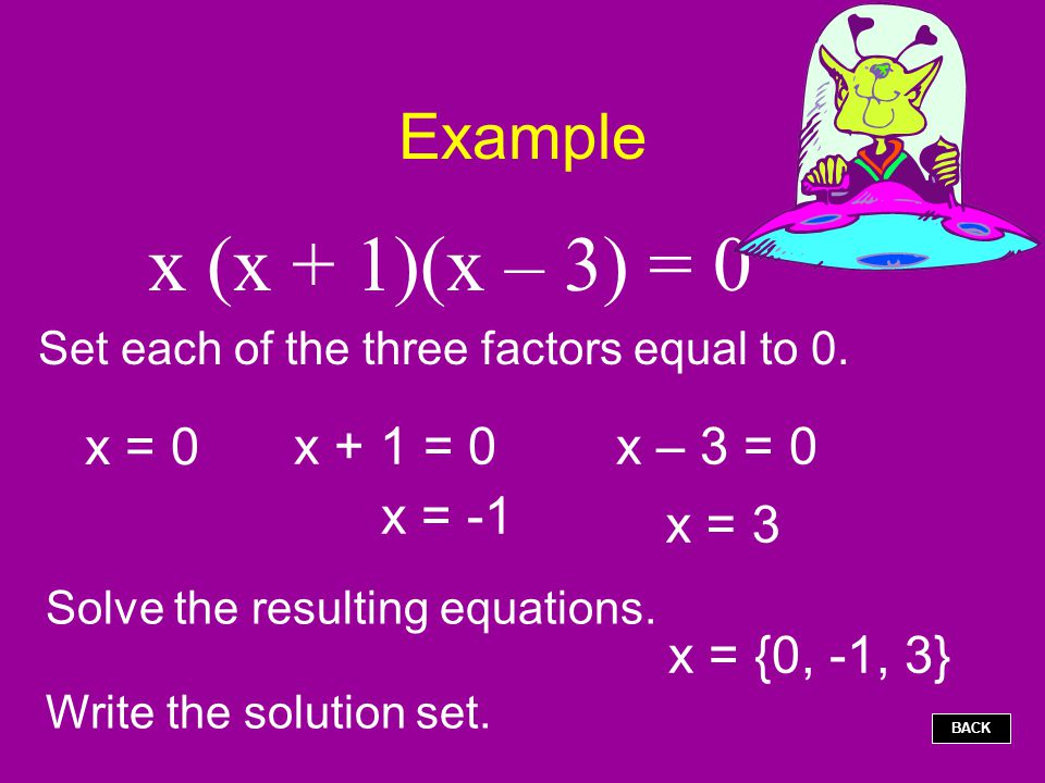 Set each of the three factors equal to 0.