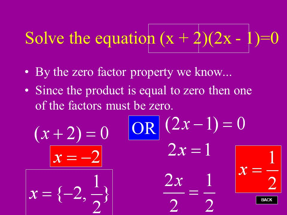 Solve the equation (x + 2)(2x - 1)=0