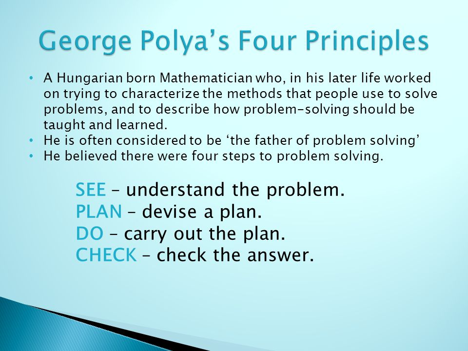 george polya problem solving strategies ppt
