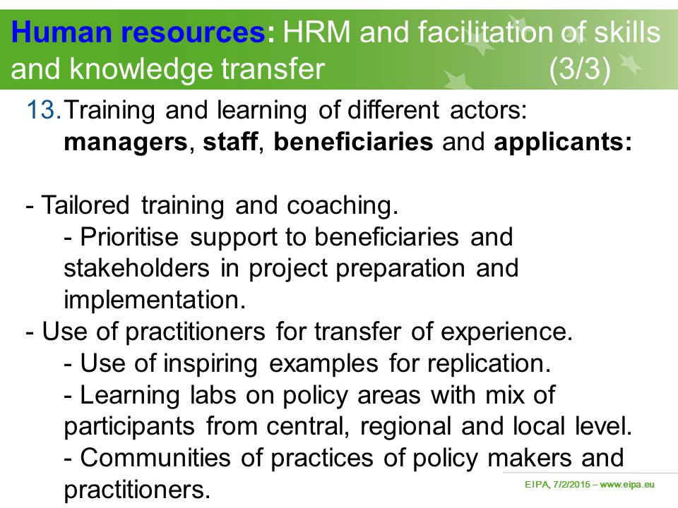Human resources: HRM and facilitation of skills and knowledge transfer (3/3)