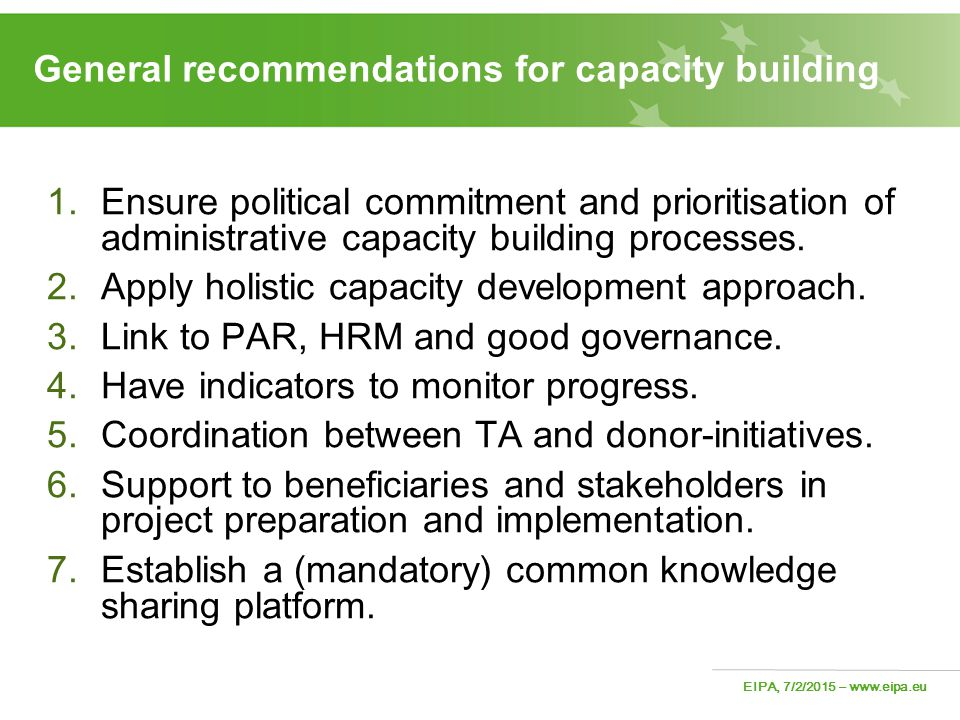 General recommendations for capacity building