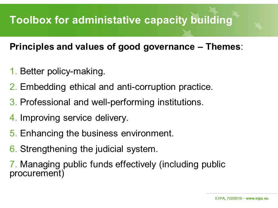 Toolbox for administative capacity building