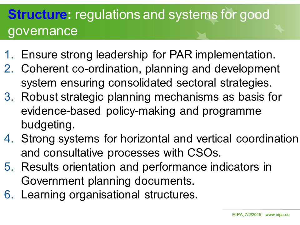 Structure: regulations and systems for good governance
