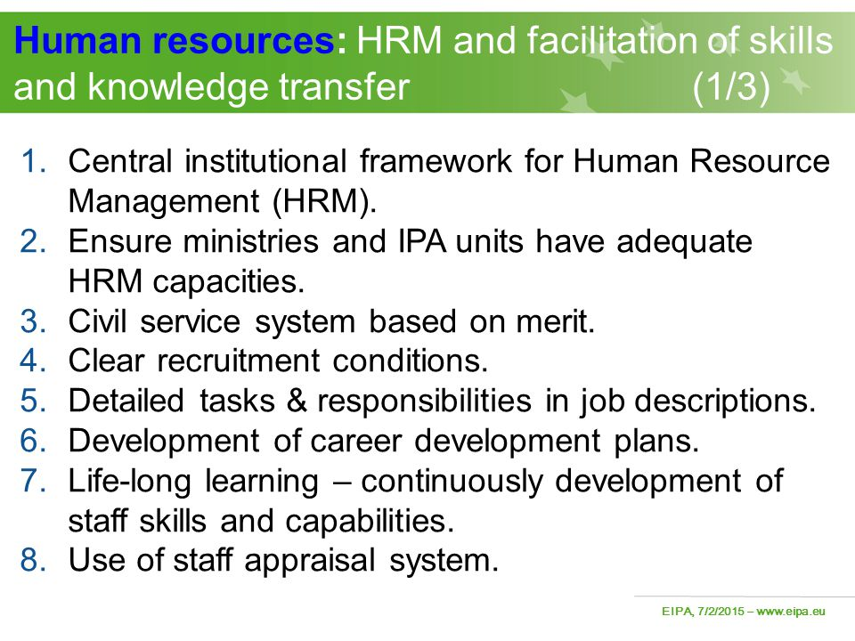 Human resources: HRM and facilitation of skills and knowledge transfer (1/3)